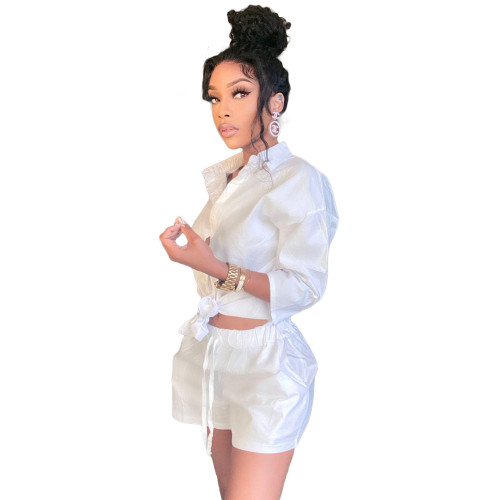 White 3/4 Sleeve Blouse and Shorts Two Piece Set