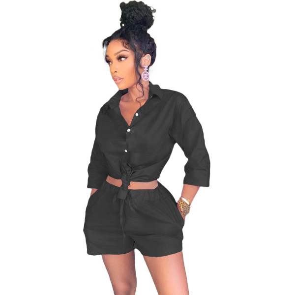 Black 3/4 Sleeve Blouse and Shorts Two Piece Set