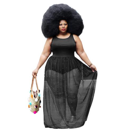 Black Beaded Mesh Patchwork Sleeveless Plus Size Maxi Dress