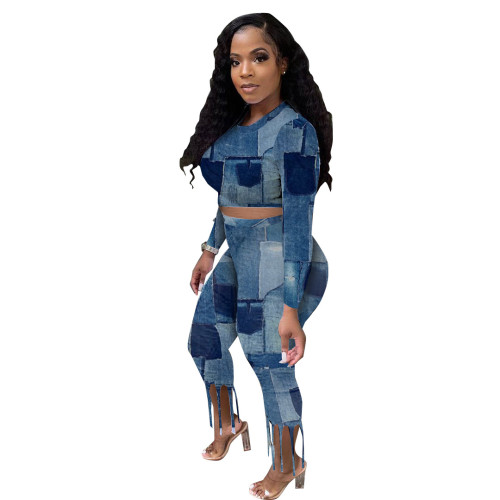 Print Long Sleeve Crop Top and Tassel Tight Pants 2PCS Set