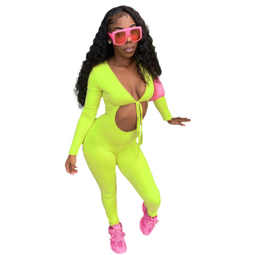 Long Sleeve Cut Out Green Bodycon Sexy Jumpsuit
