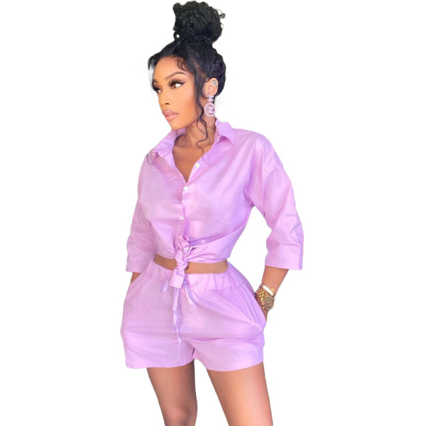 Copy White 3/4 Sleeve Blouse and Shorts Two Piece Set