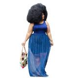 Blue Beaded Mesh Patchwork Sleveless Plus Size Maxi Dress