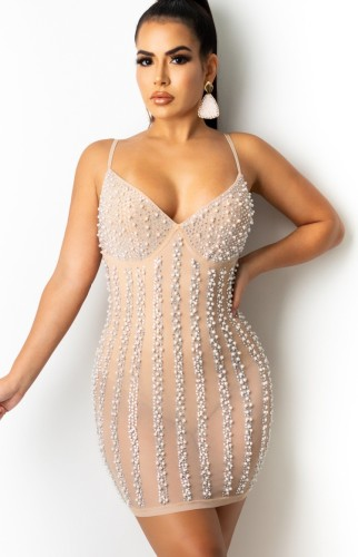 Sexy Beige Beaded Strap Slim Fit Cocktail Dress