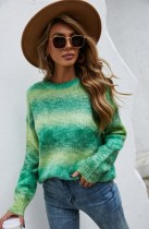 Multicolor Print O-Neck Drop Shoulder Pullover Sweater