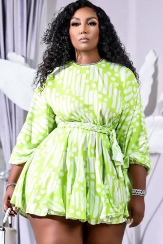 Print Green O-Neck Short Dress with Belt