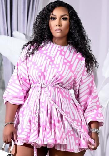 Print Pink O-Neck Short Dress with Belt