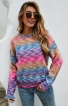 Rainbow Print O-Neck Drop Shoulder Pullover Sweater