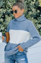 Blue Color Block Turtleneck Casual Long Sleeve Sweater