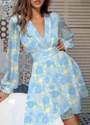 Floral Blue V-Neck Long Sleeve Wide Dress