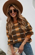Plaid Print O-Neck Drop Shoulder Pullover Sweater