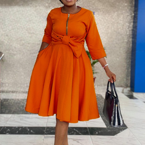 African Orange High Waist Fit and Flare Dress