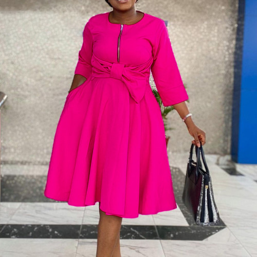 African Hot Pink 3/4 Sleeve Zipper Fit and Flare Dress