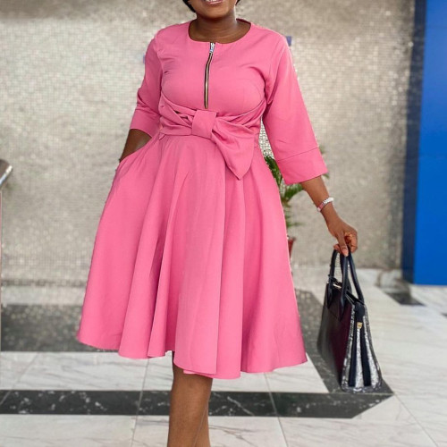 African Pink 3/4 Sleeve Zipper Fit and Flare Dress