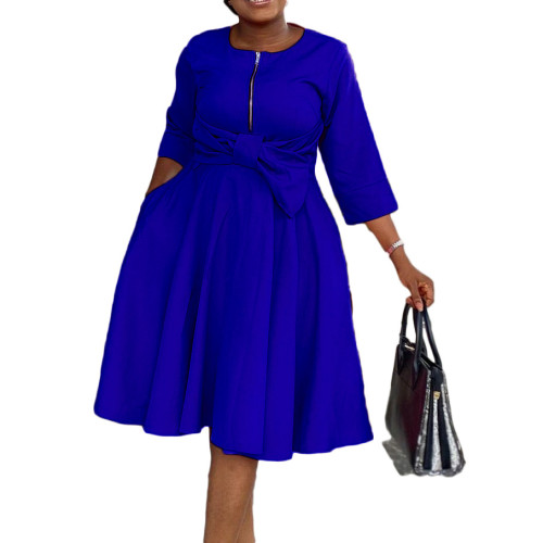 African Blue High Waist Fit and Flare Dress