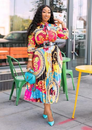 African Print Tie Neck Pleated Dress