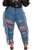 Plus Size Medium Blue Stylish Damaged Fringe Jeans
