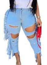 Plus Size Light Blue Stylish Damaged Fringe Jeans