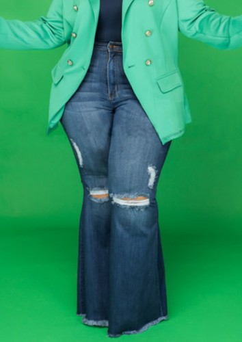 Blue High Waisted Ripped Plus Size Bell Bottom Jeans