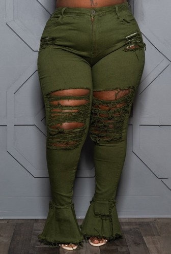 Plus Size Army Green Ripped High Waisted Flare Jeans