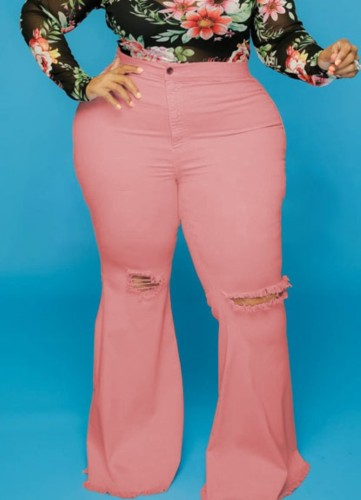 Pink High Waisted Ripped Plus Size Flare Jeans