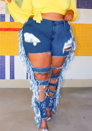 Plus Size Dark Blue Ripped Holes Fringe High Waisted Jeans