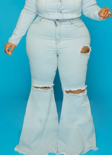 Blue High Waisted Ripped Plus Size Flare Jeans