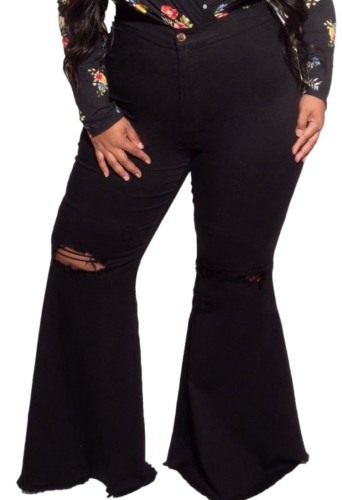 Black High Waisted Ripped Plus Size Bell Bottom Jeans