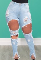 Plus Size Light Blue High Waisted Tight Ripped Jeans