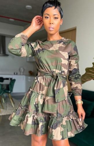 Casual Print Camou Ruffles Knotted Midi Dress