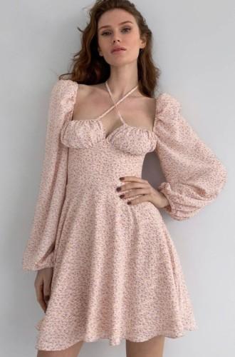 Pink Floral Halter Neck Bubble Long Sleeve Midi Dress