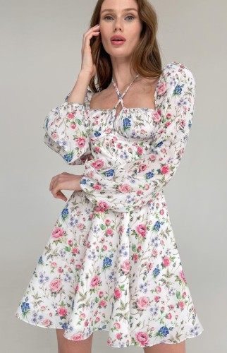Flower Print Halter Neck Bubble Long Sleeve Midi Dress