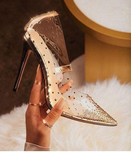 Rhinestone Transparent High Heel Slippers