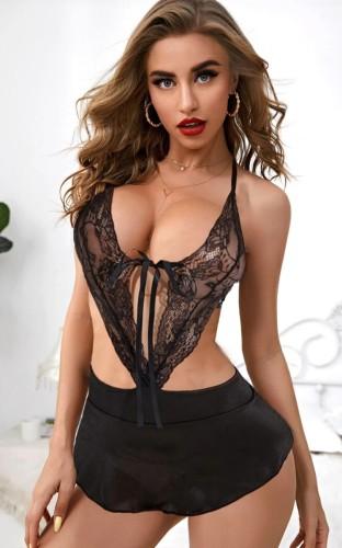 Black Lace Halter Irregular Lingerie