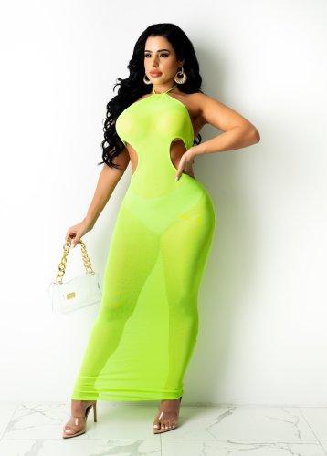 Neon Green Sexy Cut Out Halter Mesh Long Dress