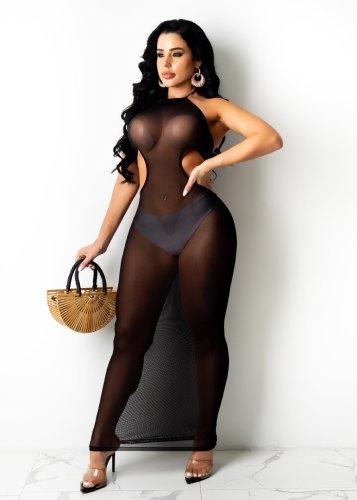 Sexy Black Cut Out Halter Mesh Long Dress