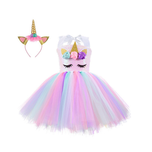 Kid's Girls Prom Dress with Unicorn Cosplay Headwear
