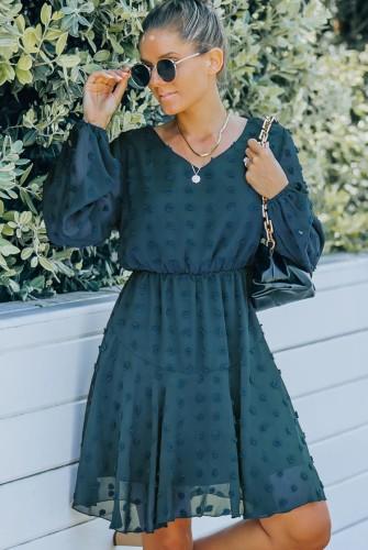 Green Floral V--Neck Mesh Sleeve Midi Dress