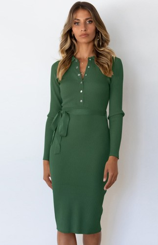 Green Long Sleeve Button Up Knitted Midi Office Dress with Matching Belt