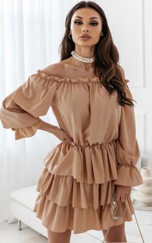 Khaki Off Shoulder Puff Sleeve Pleated Midi Dress