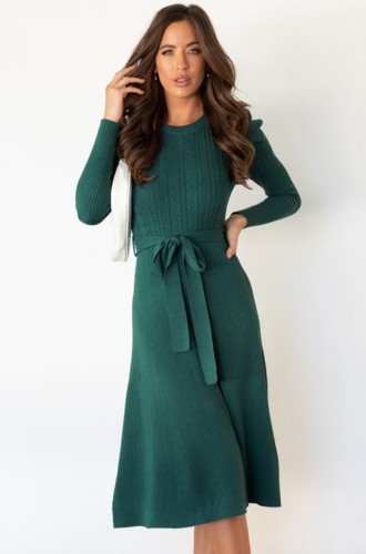 Green Knit Long Sleeves O-Neck Dress with Belt