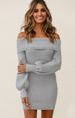 Gray Off Shoulder Bubble Sleeve Knitted Slinky Dress