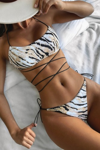 Tiger Skin Printed Lace Up Halter Two Piece Bikini