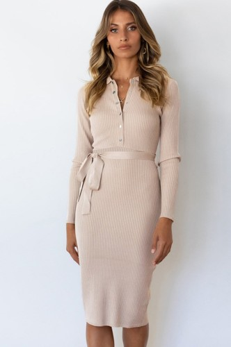 Khaki Long Sleeve Button Up Knitted Midi Office Dress with Matching Belt