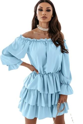 Blue Off Shoulder Puff Sleeve Pleated Midi Dress