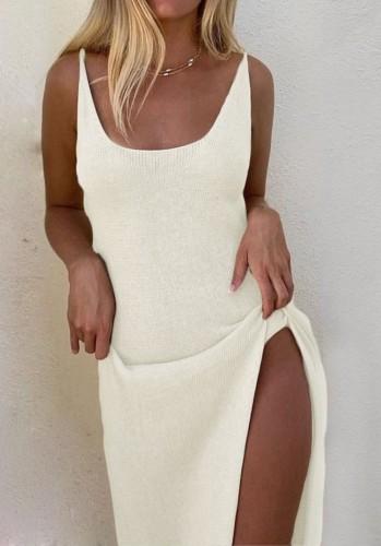 White Knit Slit Long Sheath Tank Dress