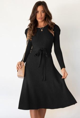 Black Knit Long Sleeves O-Neck Dress with Belt