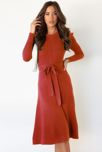 Red Knit Long Sleeves O-Neck Dress with Belt