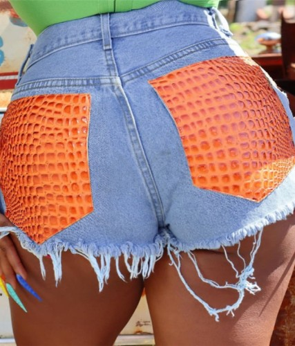 Orange Snake Skin Patch Blue Denim Shorts