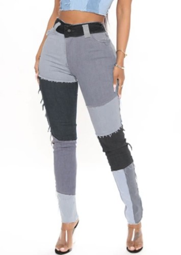 Color Block Patch High Waist Bodycon Jeans